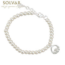First Communion Pearl Bracelet - Silver Plated with Claddagh and Shamrock Charms