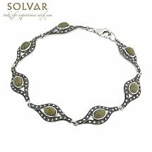 Sterling Silver Connemara Marble and Marcasite Link Bracelet