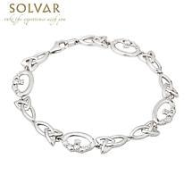 Irish Bracelet - Sterling Silver Claddagh and Trinity Knot Celtic Bracelet