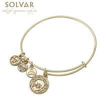 Irish Bracelet - Gold Tone Claddagh Charm Irish Symbols Expandable Bangle