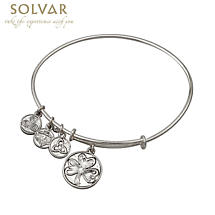 Irish Bracelet - Silver Tone Shamrock Charm Irish Symbols Expandable Bangle