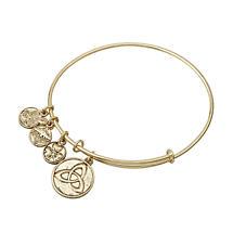 Irish Bracelet - Gold Tone Trinity Knot Charm Irish Symbols Expandable Bangle