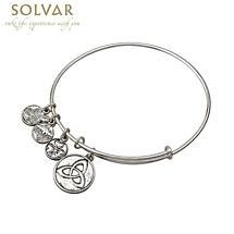 Irish Bracelet - Silver Tone Trinity Knot Charm Irish Symbols Expandable Bangle