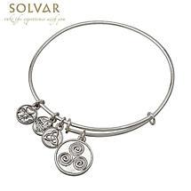 Irish Bracelet - Silver Tone Celtic Spiral Charm Irish Symbols Expandable Bangle