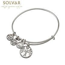 Irish Bracelet - Silver Tone Celtic Tree of Life Trinity Knot Charm Irish Symbols Expandable Bangle