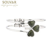 Irish Bracelet - Rhodium Plated Marble Shamrock Bangle