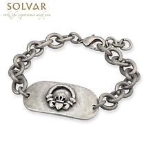 Irish Mens Bracelet - Claddagh Pewter Style Dog Tag Bracelet