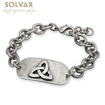 Irish Mens Bracelet - Trinity Knot Pewter Style Dog Tag Bracelet