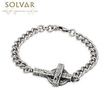 Irish Mens Bracelet - Celtic Cross Pewter Style Man's Bracelet