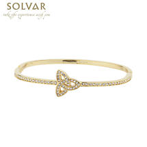 Irish Bracelet - 18k Gold Plated Trinity Knot Bangle with Crystals