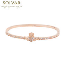 Irish Bangle - Rose Gold Plate Crystal Claddagh Bangle