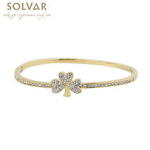 Irish Bangle - Gold Plate Crystal Shamrock Bangle