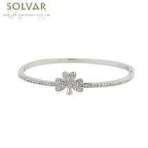 Irish Bangle - Rhodium Plate Crystal Shamrock Bangle