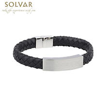 Irish Bracelet - Steel Men's Medium Black Leather Bracelet