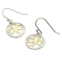 Shamrock Earrings - Sterling Silver Gold Plate Shamrock Earrings