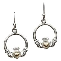 Claddagh Earrings - Sterling Silver Diamond Set Claddagh with 10k Gold Heart Earrings