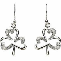 Shamrock Earrings - Sterling Silver Stone Set Open Shamrock Earrings