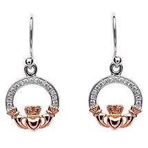 Claddagh Earrings - Sterling Silver Claddagh Stone Set Rose Gold Plated Earrings