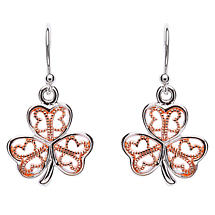 Shamrock Earrings - Sterling Silver Filigree Rose Gold Plated Shamrock Earrings