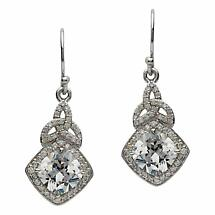Irish Earrings - Sterling Silver CZ Trinity Knot Halo Earrings