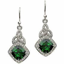 Irish Earrings - Sterling Silver Green CZ Trinity Knot Halo Earrings