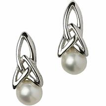 Trinity Knot Earrings - Sterling Silver Celtic Trinity Knot Pearl Earrings