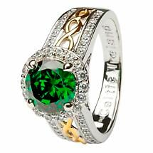 Irish Ring - Sterling Silver Green CZ Halo Ring