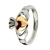 Claddagh Ring - Sterling Silver Claddagh with 10k Gold Heart Ring