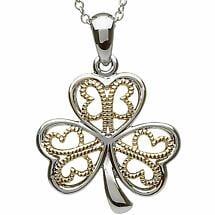 Shamrock Pendant - Sterling Silver Filigree Shamrock Pendant with Chain
