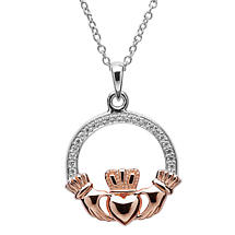 Claddagh Pendant - Sterling Silver Claddagh Stone Set Rose Gold Plated Pendant
