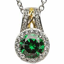 Irish Necklace - Sterling Silver Green CZ Halo Pendant