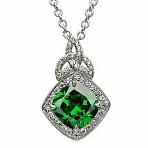 Irish Necklace - Sterling Silver Green CZ Trinity Knot Halo Pendant