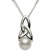 Trinity Knot Pendant - Sterling Silver Celtic Trinity Knot Pearl Pendant with Chain