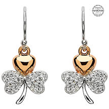 Shamrock Earrings - Gold Plated Shamrock Earrings Encrusted with Swarovski Crystals