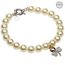 Shamrock Bracelet - Gold Plated Shamrock Pearl Bracelet Adorned with Swarovski Crystals