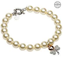 Shamrock Bracelet - Gold Plated Shamrock Pearl Bracelet Adorned with Swarovski Crystals