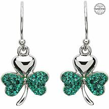 Shamrock Earrings - Sterling Silver Shamrock Earrings Encrusted with Emerald Swarovski Crystals