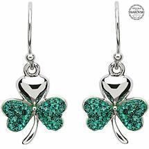 Shamrock Earrings - Sterling Silver Shamrock Earrings Encrusted with Emerald Swarovski Crystals
