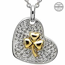 Shamrock Necklace - Sterling Silver and Gold Plated Shamrock Pendant Encrusted with Swarovski Crystals