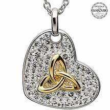 Celtic Necklace - Sterling Silver and Gold Plated Trinity Pendant Encrusted with Swarovski Crystals