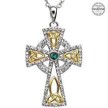 Celtic Cross Necklace - Sterling Silver and Gold Plated Trinity Gold Plated Cross Embellished with Emerald Swarovski Crystals