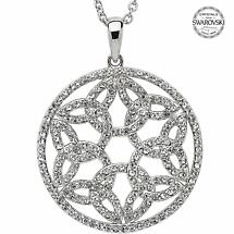 Trinity Knot Necklace - Sterling Silver Trinity Knot Circle Pendant Encrusted with Swarovski Crystals