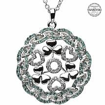 Shamrock Necklace - Sterling Silver Shamrock Heart Round Pendant Encrusted with Emerald Swarovski Crystals
