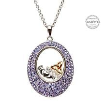 Irish Necklace - Sterling Silver Claddagh and Trinity Pendant Encrusted with Tanzanite Swarovski Crystals