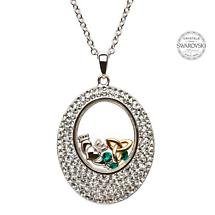 Irish Necklace - Sterling Silver Claddagh and Trinity Pendant Encrusted with Swarovski Crystals