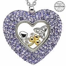 Irish Necklace - Sterling Silver Trinity Shamrock Heart Pendant Encrusted with Tanzanite Swarovski Crystals
