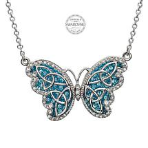 Irish Necklace - Sterling Silver Trinity Butterfly Pendant Embellished with Aquamarine Swarovski Crystals