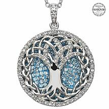 Irish Necklace - Sterling Silver Tree of Life Pendant Encrusted with Aquamarine Swarovski Crystals