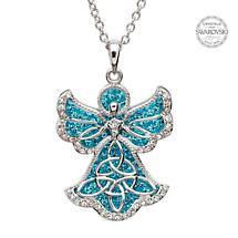 Irish Necklace - Sterling Silver Trinity Angel Pendant Embellished with Aquamarine Swarovski Crystals