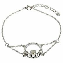 Irish Bracelet - Claddagh Bracelet with Swarovski Crystals